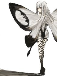 1girl aerie_(bravely_default) artist_request bravely_default:_flying_fairy fairy looking_at_viewer looking_back simple_background solo