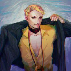 1boy blonde_hair blue_eyes choker chromatic_aberration collarbone gradient_background jacket jewelry jojo_no_kimyou_na_bouken male_focus meron_nouka necklace prosciutto solo