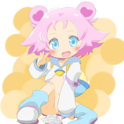 1girl arm_support blue_eyes blue_legwear blush_stickers bottomless cello_(20000) double_bun female hair_bun jewelpet_(series) jewelpet_magical_change knee_up loli loose_socks navel open_mouth panties panties_removed pink_hair pussy rabura shoes short_hair single_kneehigh single_thighhigh sitting smile socks solo spread_legs thighhighs uncensored w