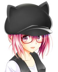1girl alternate_costume animal_ears animal_hat bespectacled casual cat_ears cat_hat collarbone ffcreatyuuki glasses hat looking_at_viewer momo_velia_deviluke multicolored_hair open_mouth pink_eyes pink_hair purple_eyes red-framed_eyewear semi-rimless_glasses shirt short_hair simple_background solo to_love-ru to_love-ru_darkness under-rim_glasses upper_body vest white_background white_shirt
