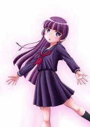 1girl black_hair blue_eyes gokou_ruri highres long_hair ore_no_imouto_ga_konna_ni_kawaii_wake_ga_nai sakaki_youma school_uniform serafuku