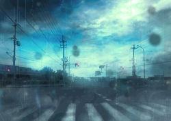 atsuki_lemon cloud cloudy_sky crosswalk power_lines rain road road_sign scenery sign sky traffic_light