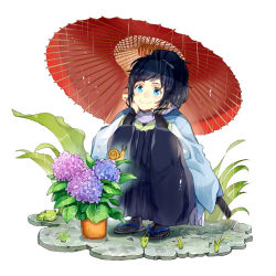 1boy black_hair blue_eyes flower frog hakama houhou_(black_lack) hydrangea japanese_clothes leaf male_focus mole mole_under_eye oriental_umbrella plant ponytail potted_plant rain sandals scarf smile snail squatting tabi touken_ranbu umbrella yamato-no-kami_yasusada