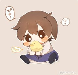1girl ? animal animal_on_hand bird blush brown_hair chibi chick ina_(1813576) japanese_clothes kaga_(kantai_collection) kantai_collection long_sleeves side_ponytail simple_background solo spoken_question_mark twitter_username
