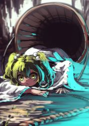 1girl berabou blurry blush bucket green_eyes green_hair hair_bobbles hair_ornament highres japanese_clothes kimono kisume long_sleeves looking_at_viewer lying on_ground on_stomach rope solo touhou twintails wide_sleeves yukata
