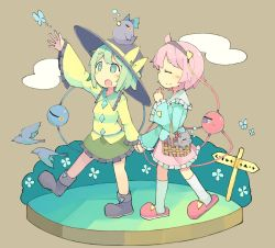 2girls animal baron_(x5qgeh) basket bird boots bow butterfly cat cloud crow eyeball eyes_closed full_body green_eyes green_hair hairband hand_holding hat hat_bow heart highres kaenbyou_rin kaenbyou_rin_(cat) komeiji_koishi komeiji_satori long_sleeves multiple_girls open_mouth pink_hair reiuji_utsuho reiuji_utsuho_(bird) shirt siblings sign sisters skirt sleeping slippers smile socks string third_eye touhou white_legwear wide_sleeves
