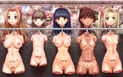 5girls 774_(nanashi) age_difference amputee bangs bikini_tan black_hair blonde_hair blue_eyes branded breasts brown_eyes brown_hair cleft_of_venus copyright_request decapitation empty_eyes flat_chest green_eyes guro hanging high_ponytail hook large_breasts loli long_hair medium_breasts multiple_girls nipples nude peach_fuzz ponytail pubic_hair pussy quadruple_amputee severed_head shiny shiny_skin short_hair slender_waist small_areolae small_breasts small_nipples stamp tan tanline twintails uncensored