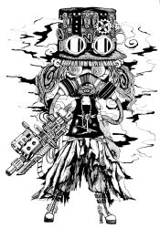 1girl al_bhed_eyes alternate_headwear arm_cannon boots buckle cross-laced_footwear cyborg empty_eyes full_body gas_mask gears gloves goggles goggles_on_hat hair_ornament hat high_heel_boots high_heels highres hue3939 ink_(medium) jewelry kawashiro_nitori key knife mechanization monochrome necklace smoke solo steampunk tank_top torn_clothes touhou traditional_media tube twintails weapon