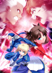 2girls 3boys ahoge archer blonde_hair blood blue_eyes blue_hair brown_hair clenched_teeth dark_skin earrings emiya_shirou fate/stay_night fate_(series) field_of_blades gae_bolg gauntlets highres injury invisible_air jewelry lancer long_hair looking_at_viewer multiple_boys multiple_girls open_mouth orange_hair polearm red_eyes saber short_hair spear tohsaka_rin two_side_up weapon white_hair zen