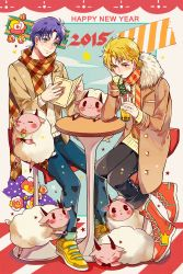 2015 2boys blonde_hair blue_hair dio_brando happy_new_year jojo_no_kimyou_na_bouken jonathan_joestar multiple_boys new_year scarf sheep winter_clothes zijinkalas
