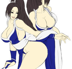 1girl breasts cleavage fatal_fury from_behind large_breasts long_hair looking_back pixiv_manga_sample shiranui_mai simple_background solo white_background
