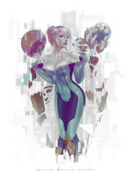 1girl bodysuit breasts cleavage covered_navel highres krystopher_decker limited_palette looking_at_viewer metroid metroid_(creature) monochrome parted_lips samus_aran solo undressing unzipped zero_suit