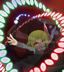1girl blonde_hair blouse danmaku hair_ornament long_sleeves looking_at_viewer open_mouth outstretched_arms red_eyes rumia senba_chidori short_hair skirt solo spread_arms touhou vest
