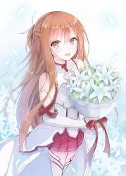 .com 1girl asuna_(sao) bouquet breastplate brown_eyes brown_hair detached_sleeves flower highres long_hair sword_art_online thighhighs