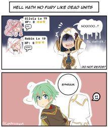 2boys 3girls 4koma armor cape chibi colored comic cynphonium dialogue_box english ephraim female_my_unit_(fire_emblem:_kakusei) fire_emblem fire_emblem:_kakusei fire_emblem:_seima_no_kouseki fire_emblem_heroes holding holding_weapon liz_(fire_emblem) multiple_boys multiple_girls my_unit_(fire_emblem:_kakusei) olivia_(fire_emblem) summoner_(fire_emblem_heroes) weapon