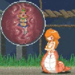 animated animated_gif bad_end blonde_hair camel_(dansen) d-gate digestion game_over inside_creature lamia lowres milia milia_wars monster_girl orange_hair pixel_art unbirthing vore
