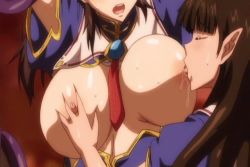 animated animated_gif black_hair breast_squeeze breast_sucking breasts breasts_outside censored cleavage female fumika_reisenbach huge_breasts long_hair moaning nipples pandra reily_(kuro)_black saliva tentacle yuri