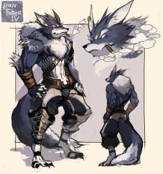 1boy blue_eyes character_sheet cigar earrings highres jewelry male_focus muscle ookami_(pixiv27280) pixiv_fantasia pixiv_fantasia_4 shirtless solo standing werewolf