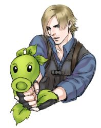 1boy aiming blonde_hair blue_eyes cang_fade crossover fingerless_gloves gloves leon_s_kennedy male parody plants_vs_zombies repeater_(pvz) resident_evil resident_evil_6 simple_background sketch vest white_background