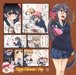 4girls :< :3 :d :p ^_^ ahoge akebono_(kantai_collection) angry animal animal_on_head apron arm_behind_back bandaid bandaid_on_face bell black_hair blush bowl box brown_hair bunny chocolate chocolate_heart clenched_teeth comic crab eating eyes_closed fang flower gift gift_box hair_bell hair_bobbles hair_flower hair_ornament hand_on_own_face hands_on_own_cheeks hands_on_own_face happy_valentine head_scarf heart holding_gift jingle_bell kantai_collection light_brown_hair long_hair long_sleeves multiple_girls o_o oboro_(kantai_collection) open_mouth pet pink_eyes pink_hair pleated_skirt purple_eyes purple_hair sazanami_(kantai_collection) school_uniform serafuku short_hair short_sleeves side_ponytail skirt sleeves_folded_up smile solid_circle_eyes sparkle sumeragi_hamao tears teeth tongue tongue_out translation_request twintails ushio_(kantai_collection) valentine very_long_hair |_|