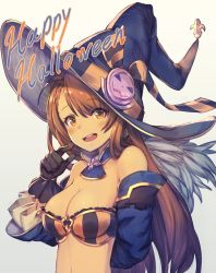 1girl :d arm_behind_back bangs bare_shoulders bazooka_oiran beatrix_(granblue_fantasy) bikini_top black_gloves blue_hat blush breasts brown_eyes brown_hair cleavage detached_collar detached_sleeves english eyebrows eyebrows_visible_through_hair fur_trim gloves granblue_fantasy hair_between_eyes hair_ribbon halloween happy_halloween hat highres jack-o'-lantern large_breasts long_hair looking_at_viewer medium_breasts navel open_mouth ribbon shiny shiny_skin simple_background smile solo striped striped_ribbon sweatdrop swept_bangs upper_body witch_hat