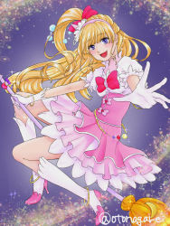1girl :d blonde_hair blue_eyes blush bow bracelet broom broom_riding crescent_moon cure_miracle dress earrings foreshortening full_body gloves hair_bow high_heels jewelry layered_dress long_hair looking_at_viewer magical_girl mahou_girls_precure! moon open_mouth otanagare pink_dress precure purple_eyes smile solo twitter_username white_gloves white_legwear