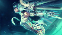 1girl android aqua_hair artist_name bodysuit breasts eddy_shinjuku eyes_closed from_side glowing green_background green_hair hatsune_miku highres lips long_hair machine mechanical_wings medium_breasts necktie number outstretched_arms profile realistic resized robotic_parts solo twintails very_long_hair vocaloid wallpaper watermark web_address wings