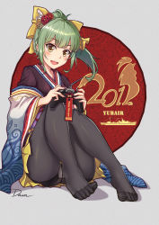 1girl 2017 :d alternate_costume artist_name bad_id bad_pixiv_id black_legwear brown_eyes commentary_request crotch_seam dawn_(664387320) feet green_hair grey_background hair_ornament hair_ribbon highres japanese_clothes kantai_collection kimono long_sleeves no_shoes open_mouth panties panties_under_pantyhose pantyhose ponytail ribbon skirt smile solo teeth toes typo underwear wide_sleeves yellow_ribbon yellow_skirt yuubari_(kantai_collection)