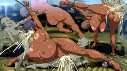 3girls ahegao ass breasts cum cum_in_mouth cum_in_pussy dark_skin demon fellatio flexible fucked_silly horn huge_breasts impregnation large_breasts monster multiple_girls nipples noriheita nude orgy penis pregnant rape restrained sex sweat vaginal yuuwaku_ikusame_3