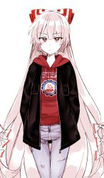 1girl alternate_costume bow clothes_writing college_shirt contemporary cowboy_shot denim fujiwara_no_mokou hair_bow hair_ribbon hands_in_pockets highres hood hoodie jacket jeans long_hair looking_at_viewer pants red_eyes ribbon silver_hair six_(fnrptal1010) solo thigh_gap touhou very_long_hair white_background