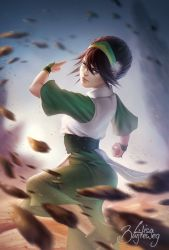 1girl avatar:_the_last_airbender black_hair blind fighting_stance gradient gradient_background grey_eyes hair_up hairband realistic rock solo toph_bei_fong zolaida