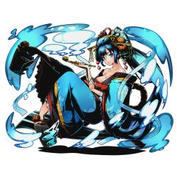 1girl absurdly_long_hair bare_shoulders blue_eyes blue_hair blue_nails breasts cleavage collarbone divine_gate floating_hair full_body hair_ornament japanese_clothes kimono large_breasts long_hair looking_at_viewer nail_polish official_art solo transparent_background ucmm very_long_hair yukata