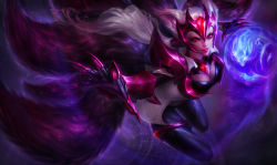 1girl ahri alternate_costume alternate_hair_color animal_ears armor breasts challenger_ahri claws cleavage energy_ball facial_mark female fox_ears fox_tail gem highres large_breasts league_of_legends long_hair michelle_hoefener multiple_tails official_art pauldrons red_eyes solo tail thighlet vambraces whisker_markings white_hair