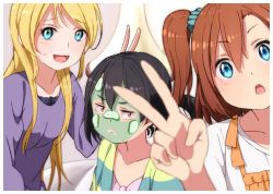 3girls :d :o :| ayase_eli black_hair blonde_hair blue_eyes blurry blush brown_hair bunny_ears_gesture cardigan closed_mouth collarbone cucumber facial_mask highres kousaka_honoka long_hair long_sleeves looking_at_viewer love_live! love_live!_school_idol_project multiple_girls one_side_up open_cardigan open_clothes open_mouth ponytail purple_sweater red_eyes scrunchie self_shot shuca_ca side_ponytail smile sweatdrop sweater v yazawa_nico