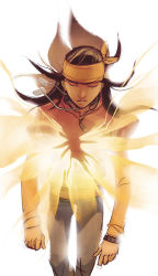 1boy apache_chief black_hair bracelet dark_skin dc_comics dog_tags dou_hong eyes_closed glowing headband jacket jeans long_shadow male necklace solo tye_longshadow white_background young_justice:_invasion