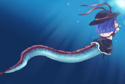 1girl animalization fish hat nagae_iku oarfish onikobe_rin shawl short_hair smile solo touhou underwater