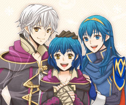 1boy 2girls blue_eyes blue_hair family father_and_daughter fingerless_gloves fire_emblem fire_emblem:_kakusei gloves happy hood_down long_hair looking_at_viewer lucina mark_(fire_emblem) mother_and_daughter multiple_girls my_unit open_mouth pauldrons petting sawako68 short_hair smile tiara white_hair yellow_eyes