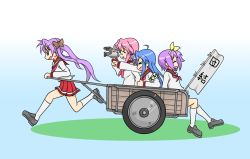 ahoge blue_eyes blue_hair glasses hiiragi_kagami hiiragi_tsukasa izumi_konata long_hair lucky_star multiple_girls purple_hair school_uniform serafuku short_hair takara_miyuki translation_request twintails wagon