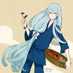 1boy bangs basket blue_hair bracelet flower japanese_clothes jewelry kousetsu_samonji l_hakase long_hair low-tied_long_hair lowres male_focus solo touken_ranbu very_long_hair