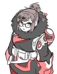 1girl alternate_color bangs beads belt belt_pouch black-framed_eyewear brown_hair canister canteen coat cowboy_shot eyebrows eyebrows_visible_through_hair fur-lined_jacket fur_coat fur_trim glasses gloves hair_bun hair_ornament hair_stick looking_at_viewer mei_(overwatch) open_mouth overwatch parka red_eyes red_gloves short_hair sidelocks simple_background snowflake_hair_ornament solo swept_bangs utility_belt white_background winter_clothes winter_coat