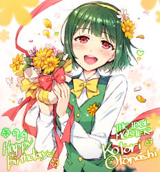 1girl :d blush bow character_name copyright_name dated english flower green_hair hair_flower hair_ornament hairband happy_birthday idolmaster long_sleeves mole open_mouth otonashi_kotori red_eyes redrop short_hair signature smile solo vest