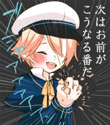 1boy bandage blonde_hair blush bowtie child collared_shirt crushing eyes_closed hat male_focus miza-sore oliver_(vocaloid) open_mouth sailor_hat simple_background smile solo translated upper_body vocaloid