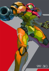 1girl arm_cannon armor helmet highres metroid power_armor power_suit samus_aran shoulder_pads solo standing standing_on_one_leg varia_suit weapon yuusuke_(5yusuke3)
