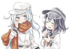 2girls akatsuki_(kantai_collection) blue_eyes blue_hair blush hammer_and_sickle hat hibiki_(kantai_collection) hisui_(kimochi) kantai_collection multiple_girls neckerchief open_mouth scarf school_uniform serafuku silver_hair smile star verniy_(kantai_collection)