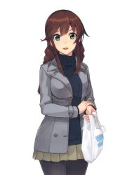 1girl :d absurdres bag black_legwear black_sweater brown_hair cowboy_shot green_eyes green_skirt grey_jacket highres jacket kantai_collection konishi_(koconatu) long_hair looking_at_viewer miniskirt noshiro_(kantai_collection) open open_clothes open_jacket open_mouth pantyhose plastic_bag pleated_skirt simple_background skirt smile solo standing sweater white_background