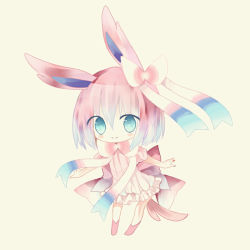 1girl animal_ears bangs bare_arms blue_eyes blue_hair blush boots bow bowtie cat_ears chibi closed_mouth dress flat_chest frilled_dress frills full_body gradient_hair hair_between_eyes hair_bow leaning_forward looking_at_viewer multicolored_hair no_eyebrows no_nose personification pink_boots pink_bow pink_dress pire_(pyrethrin) pokemon pokemon_(game) pokemon_xy puffy_short_sleeves puffy_sleeves ribbed_dress short_dress short_hair short_sleeves simple_background smile solo standing sylveon tareme yellow_background