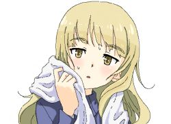 1girl :o blonde_hair blush bust eyebrows glasses glasses_removed jacket long_hair long_sleeves looking_at_viewer military military_uniform perrine_h_clostermann shiratama_(hockey) simple_background solo strike_witches sweat towel uniform white_background yellow_eyes