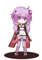 1girl chibi highres long_coat looking_at_viewer miiyon purple_eyes purple_hair sidelocks thighhighs triangle_mouth vocaloid voiceroid yuzuki_yukari zettai_ryouiki