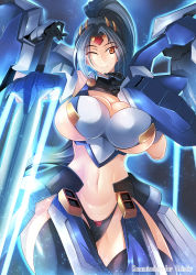 1girl breasts gradient_background haganef large_breasts mecha_musume smile solo sword