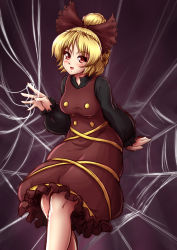 1girl :d blonde_hair blush bow breasts brown_bow brown_dress buttons dress hair_bow highres kurodani_yamame long_sleeves looking_at_viewer mazume medium_breasts open_mouth ponytail puffy_long_sleeves puffy_sleeves red_eyes short_hair silk smile solo spider_web touhou
